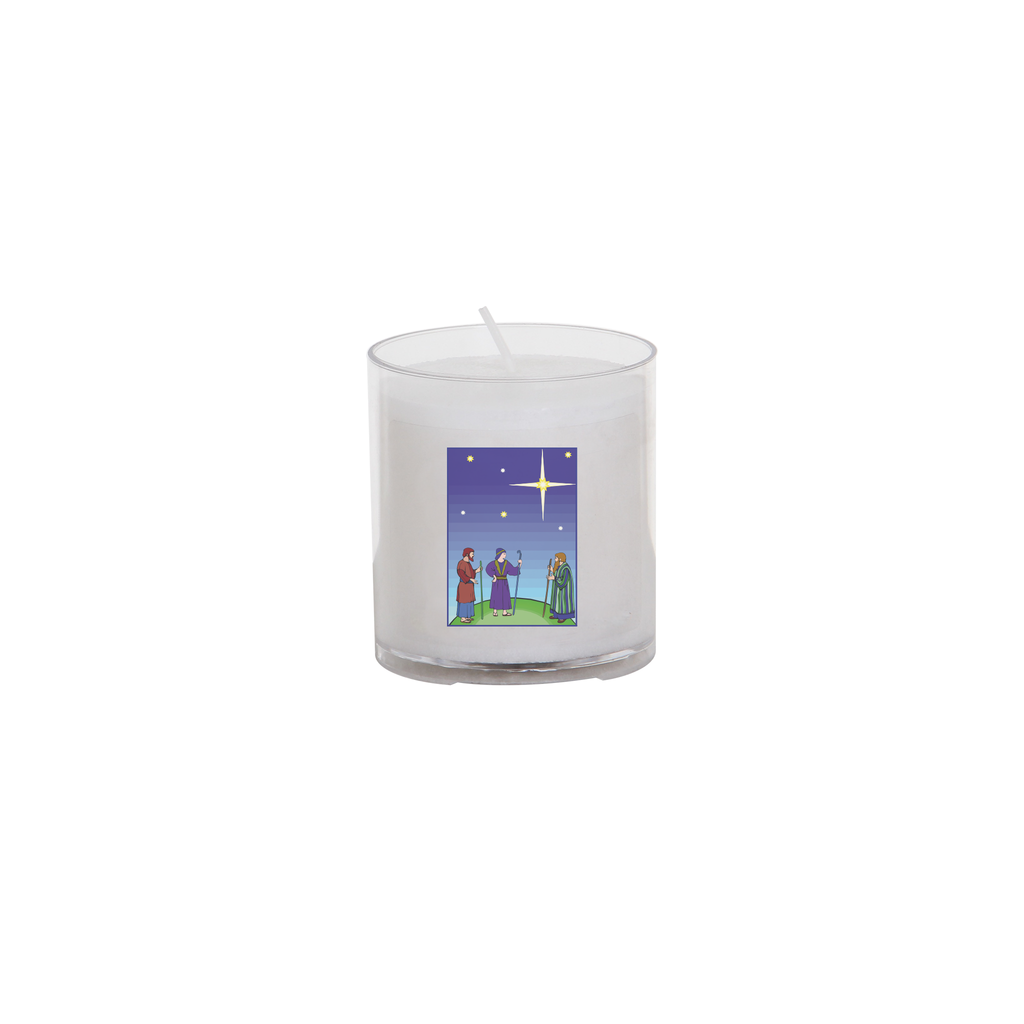 christmas seasonal transfer 24 hour votive light - shepherd and star