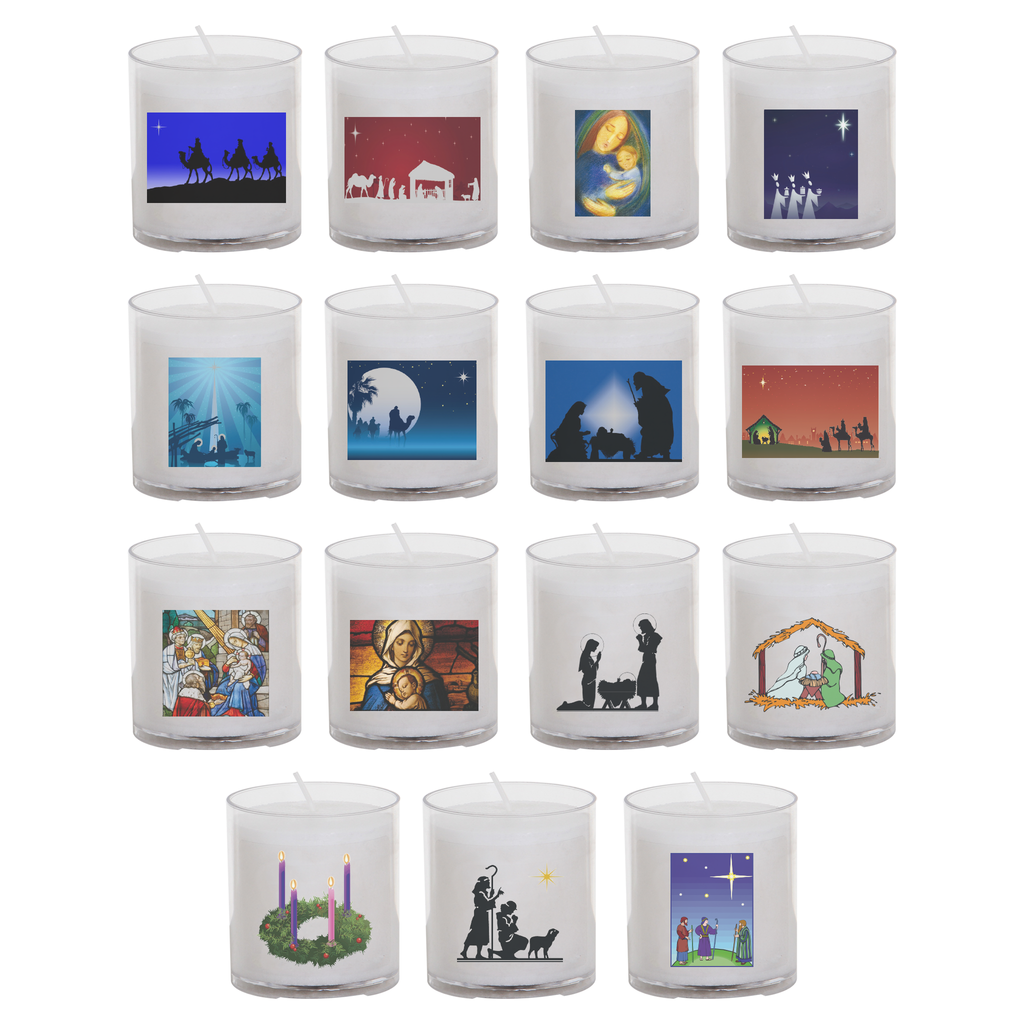 christmas seasonal transfer 24 hour votive light - all designs