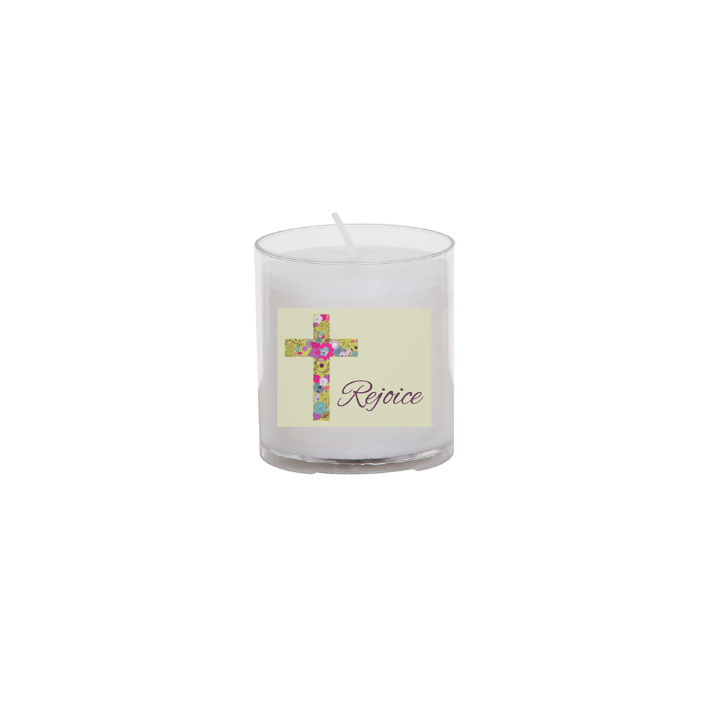 easter seasonal transfer 24 hour votive light - flower cross rejoice