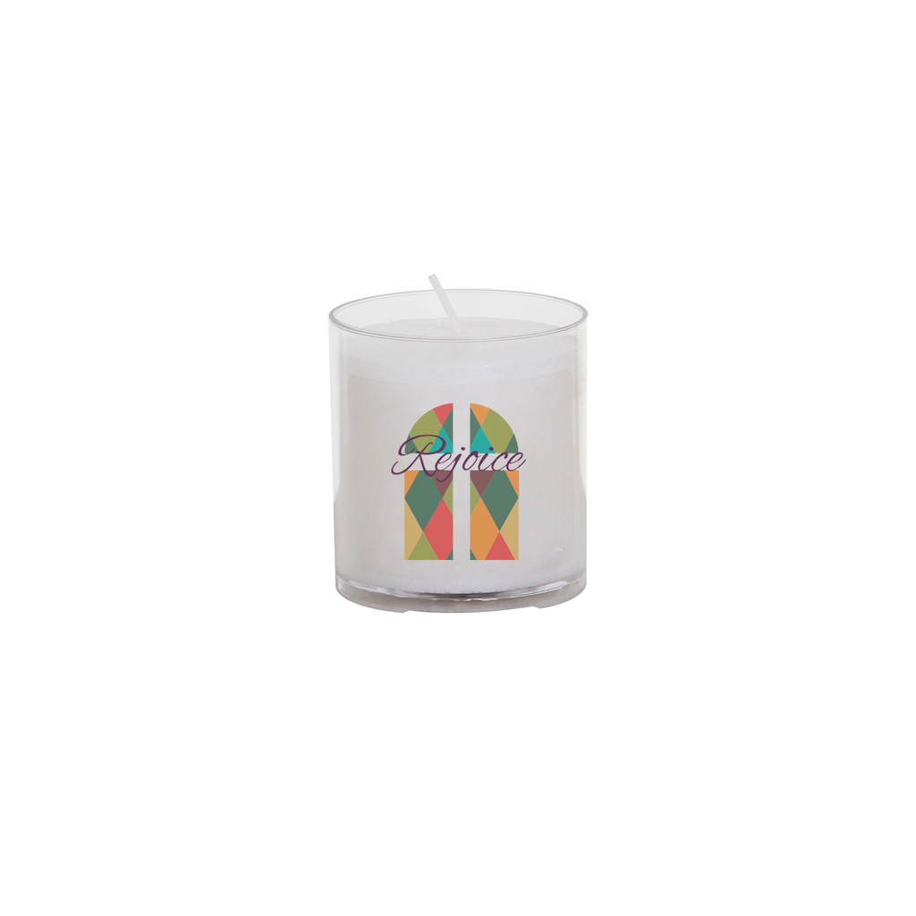 easter seasonal transfer 24 hour votive light - stain glass rejoice