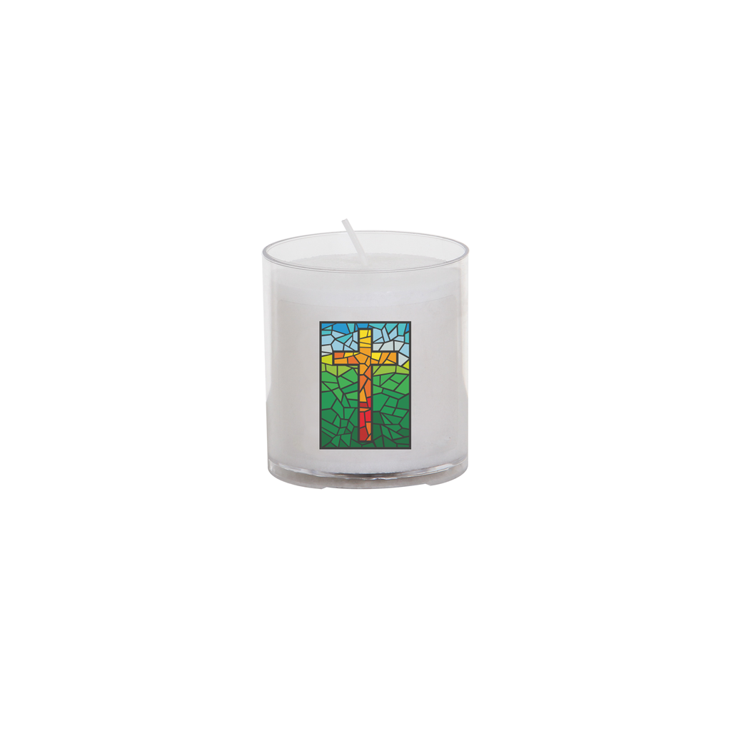 easter seasonal transfer 24 hour votive light - stain glass cross