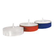 2 hour votive lights - metal cups - blue red and white