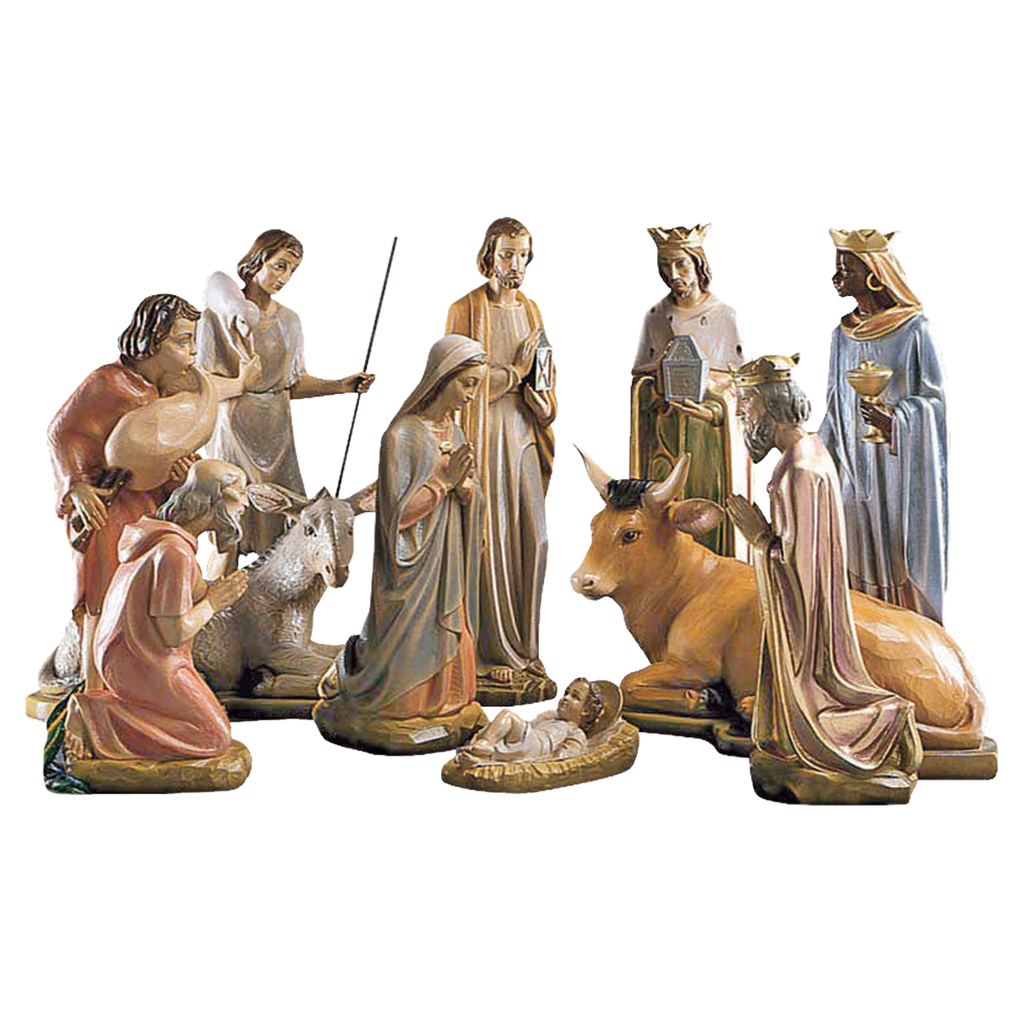 "33"" fibreglass crib set - jesus mary joseph wise men shepherds ox and ass"