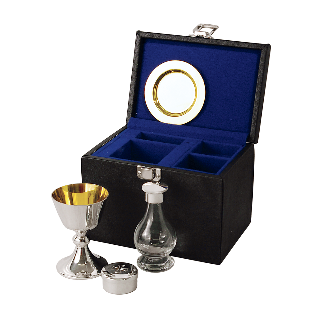 4 piece communion set - silver plate and solid silver - large