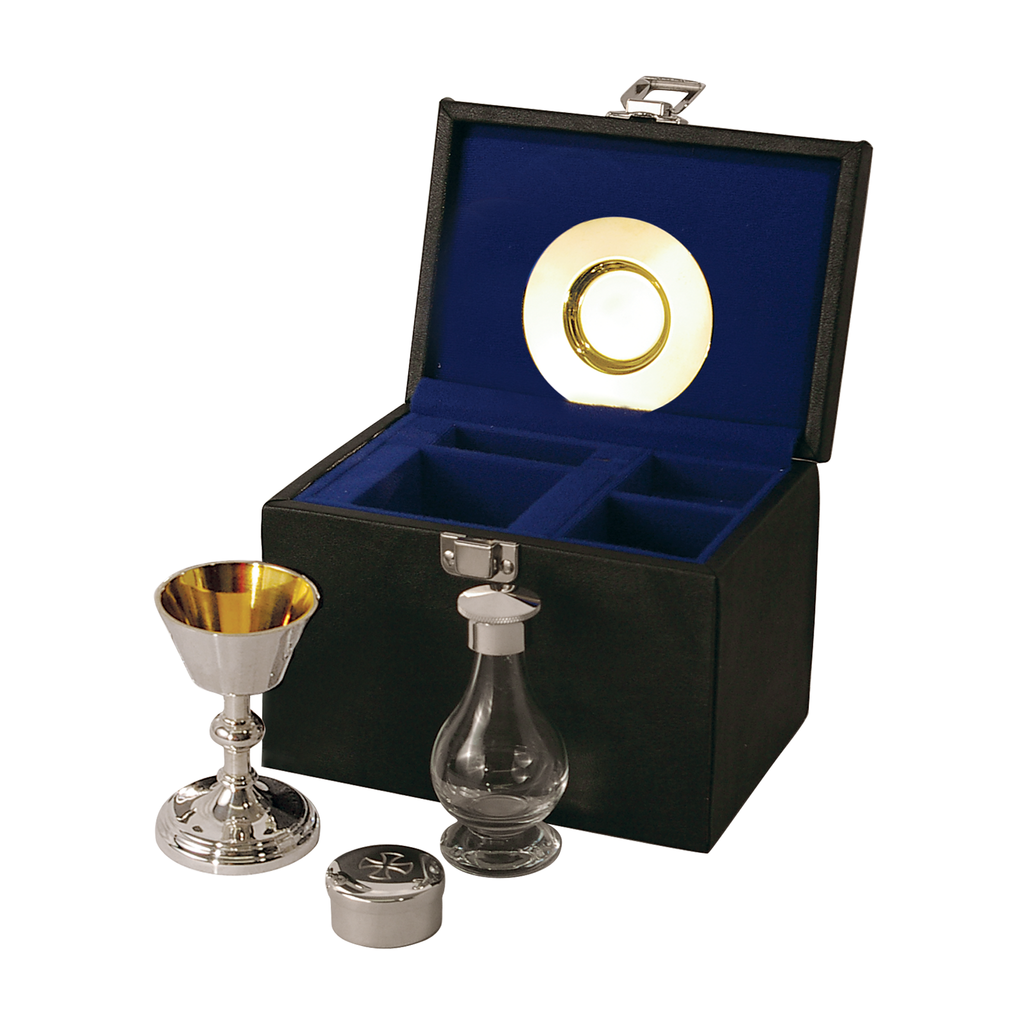 4 piece communion set - silver plate and solid silver - standard