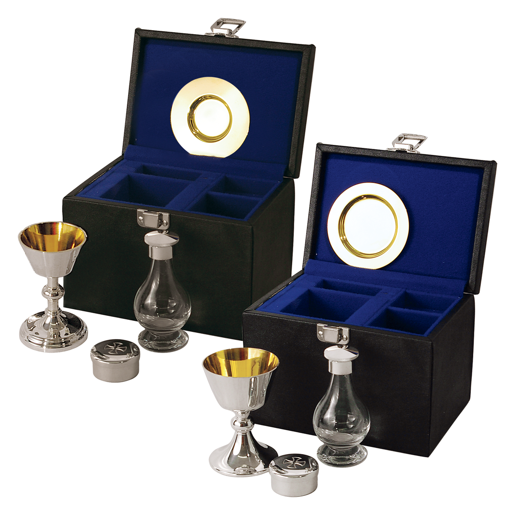 4 piece communion set - silver plate and solid silver - standard and large