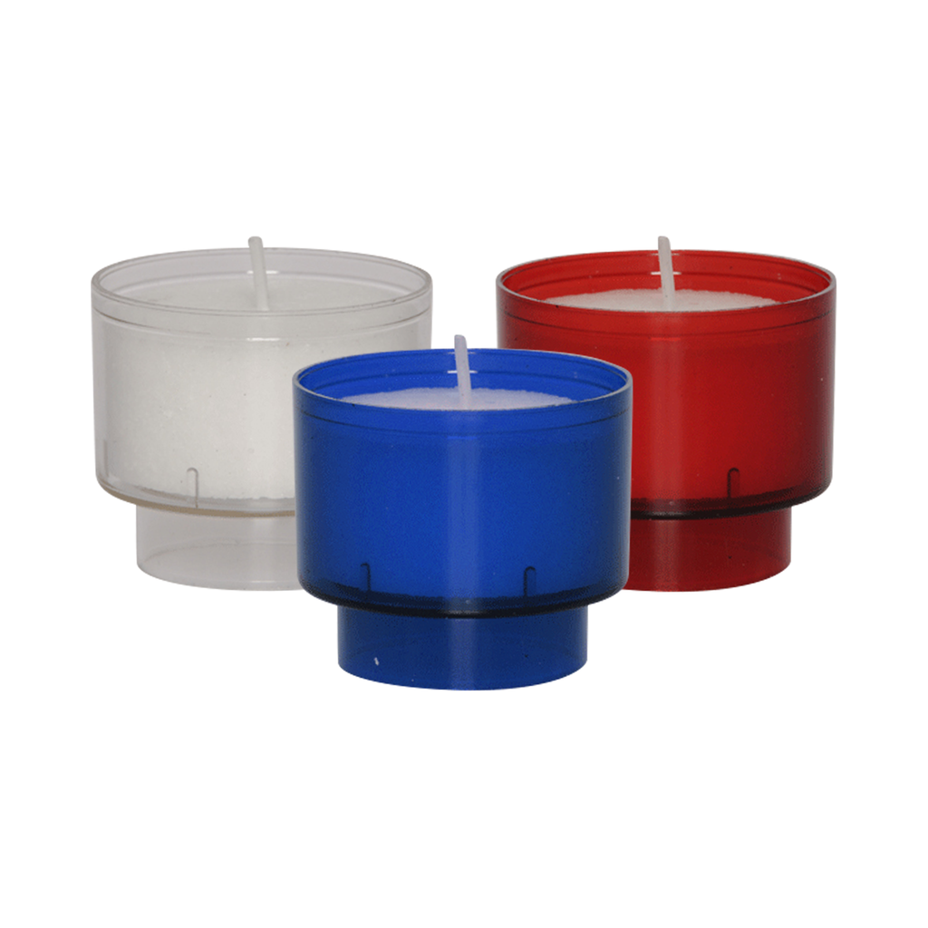 4 hour votive lights - blue clear and red