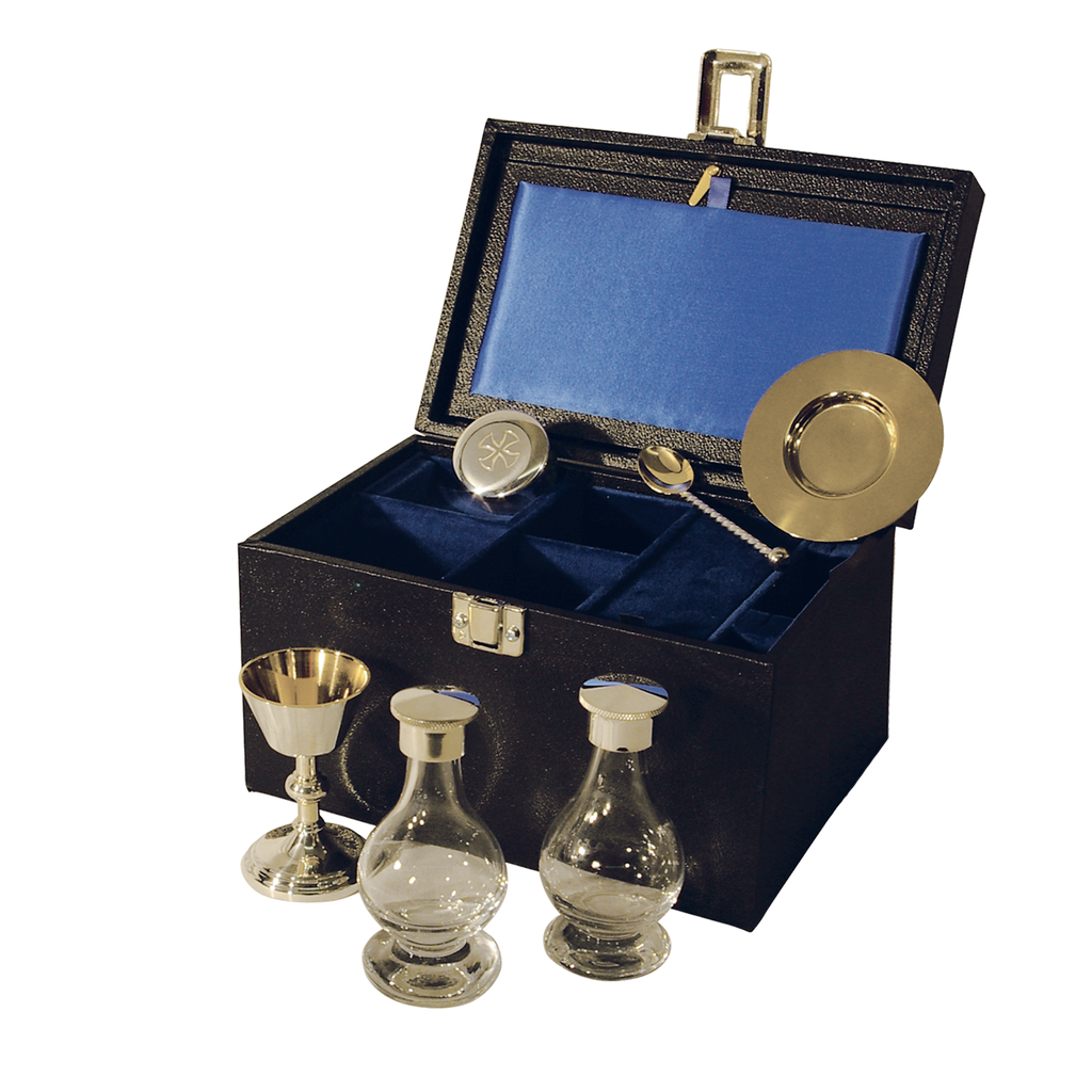 6 piece communion set - silver plate and solid silver - standard
