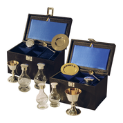 6 piece communion set - silver plate and solid silver - standard and large