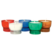 6 hour shaped votive lights - amber blue clear green and red