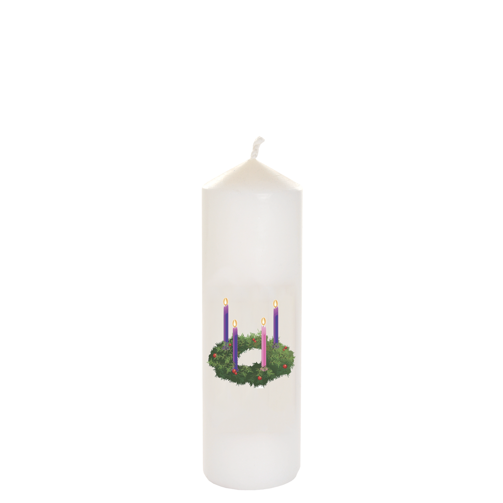 christmas seasonal transfer cathedral white candles - advent wreath