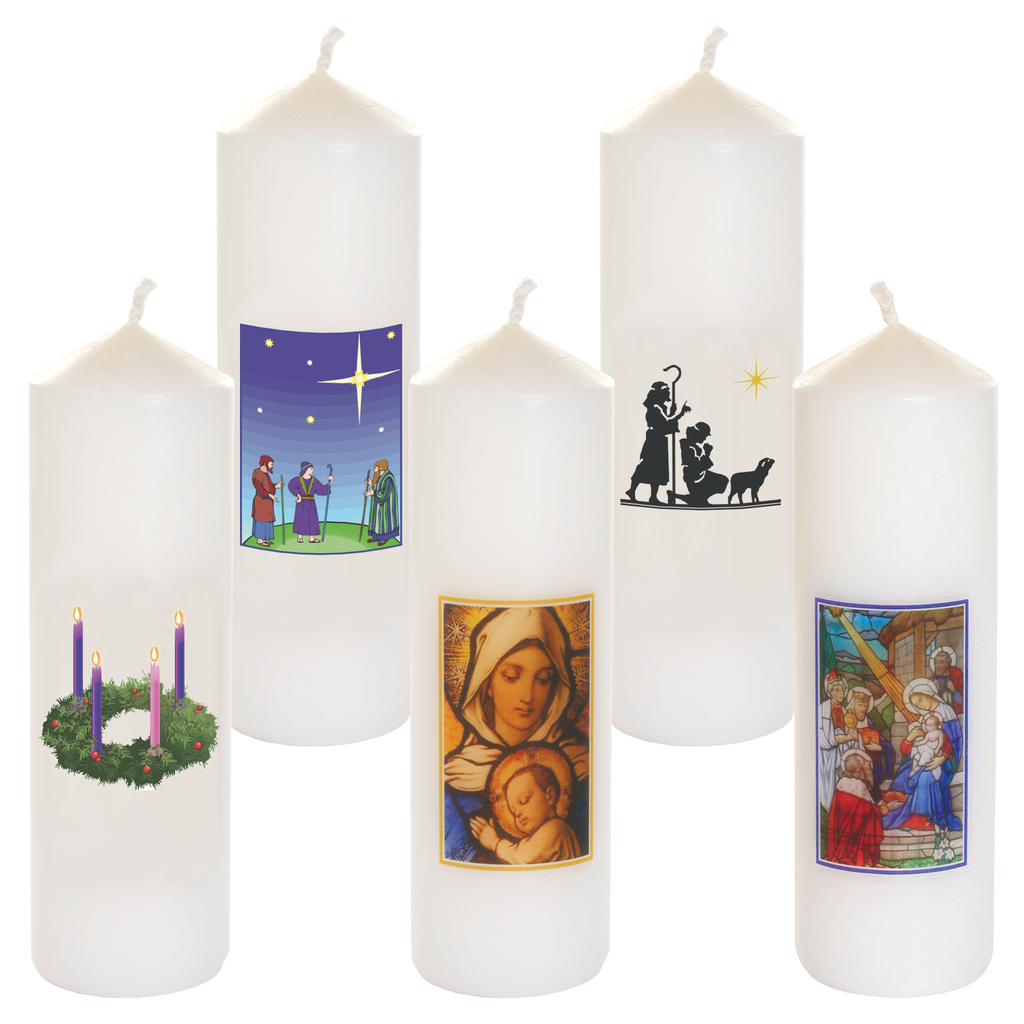 christmas seasonal transfer cathedral white candles - all designs