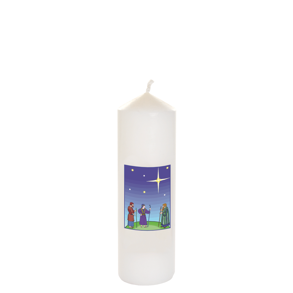 christmas seasonal transfer cathedral white candles - shepherd and star