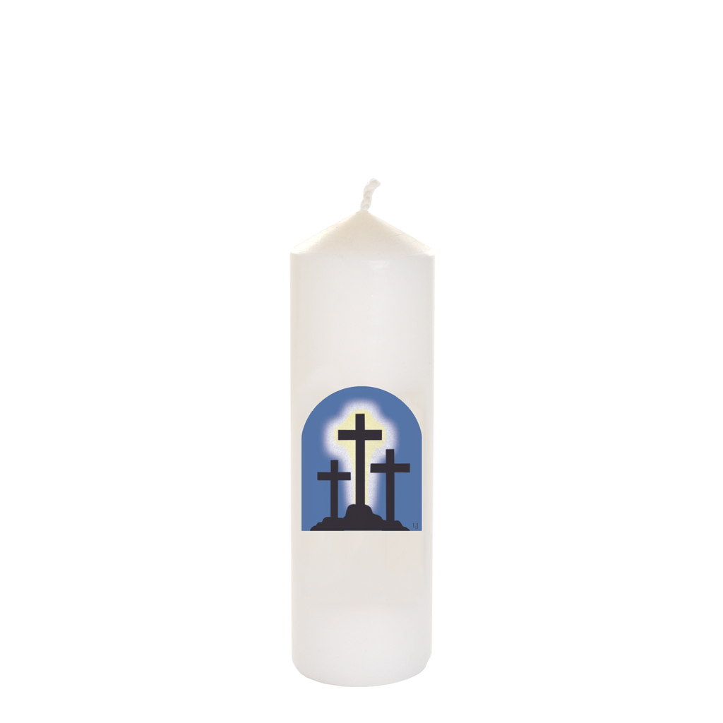 easter seasonal transfer white cathedral candles - calvary