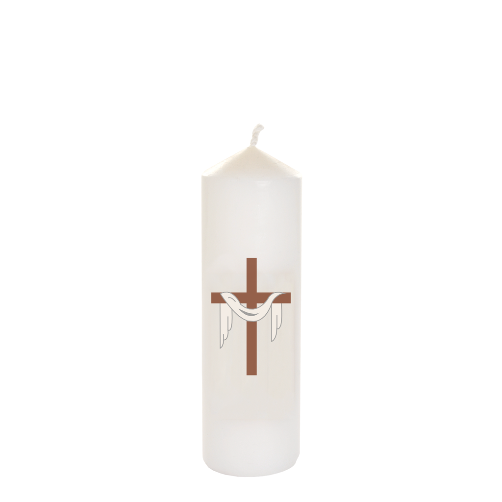 easter seasonal transfer white cathedral candles - cross and shroud