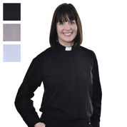 ladies long sleeve tunnel collar shirt - black grey and blue