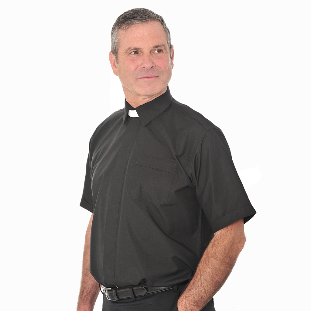 short sleeve collar attached shirt - black