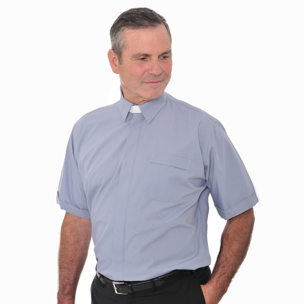 short sleeve collar attached shirt - blue