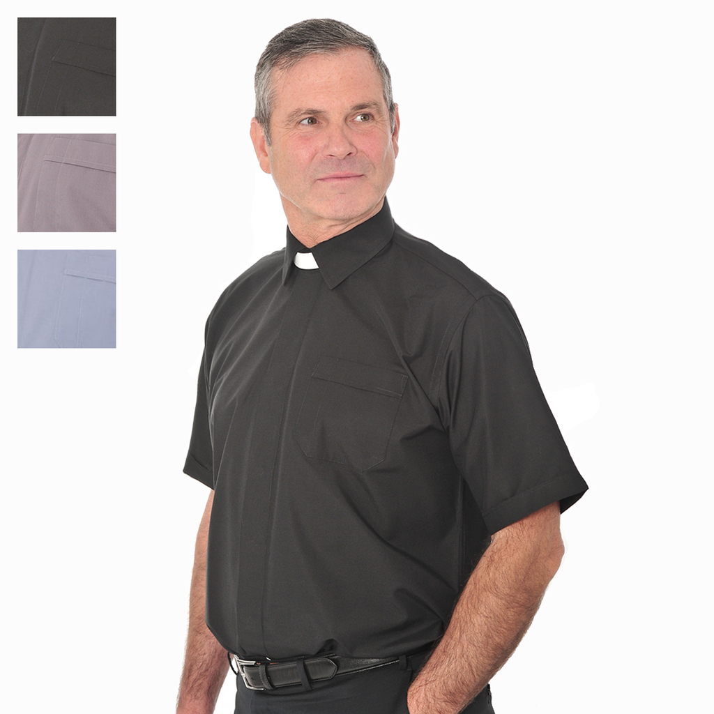 short sleeve collar attached shirt - black grey and blue