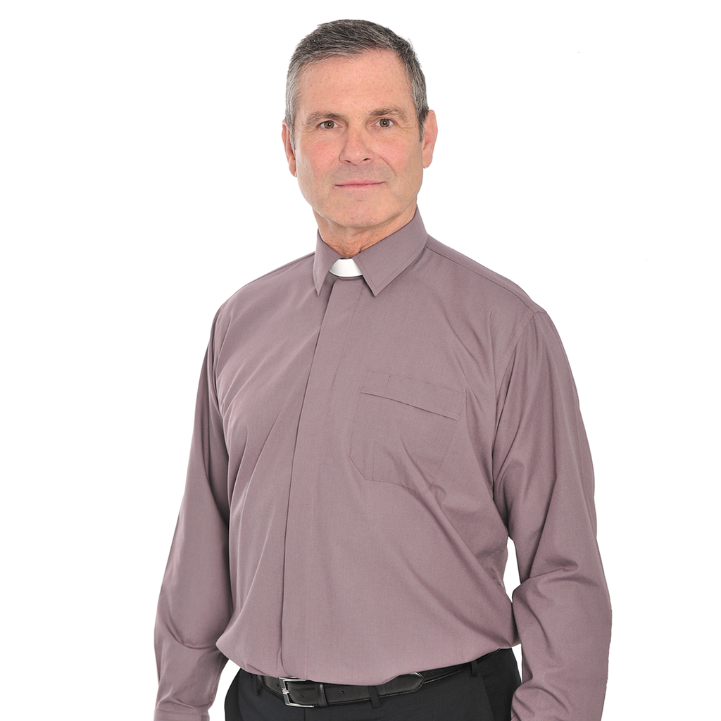 long sleeve collar attached shirt - grey