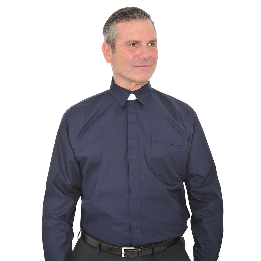 long sleeve collar attached shirt - navy