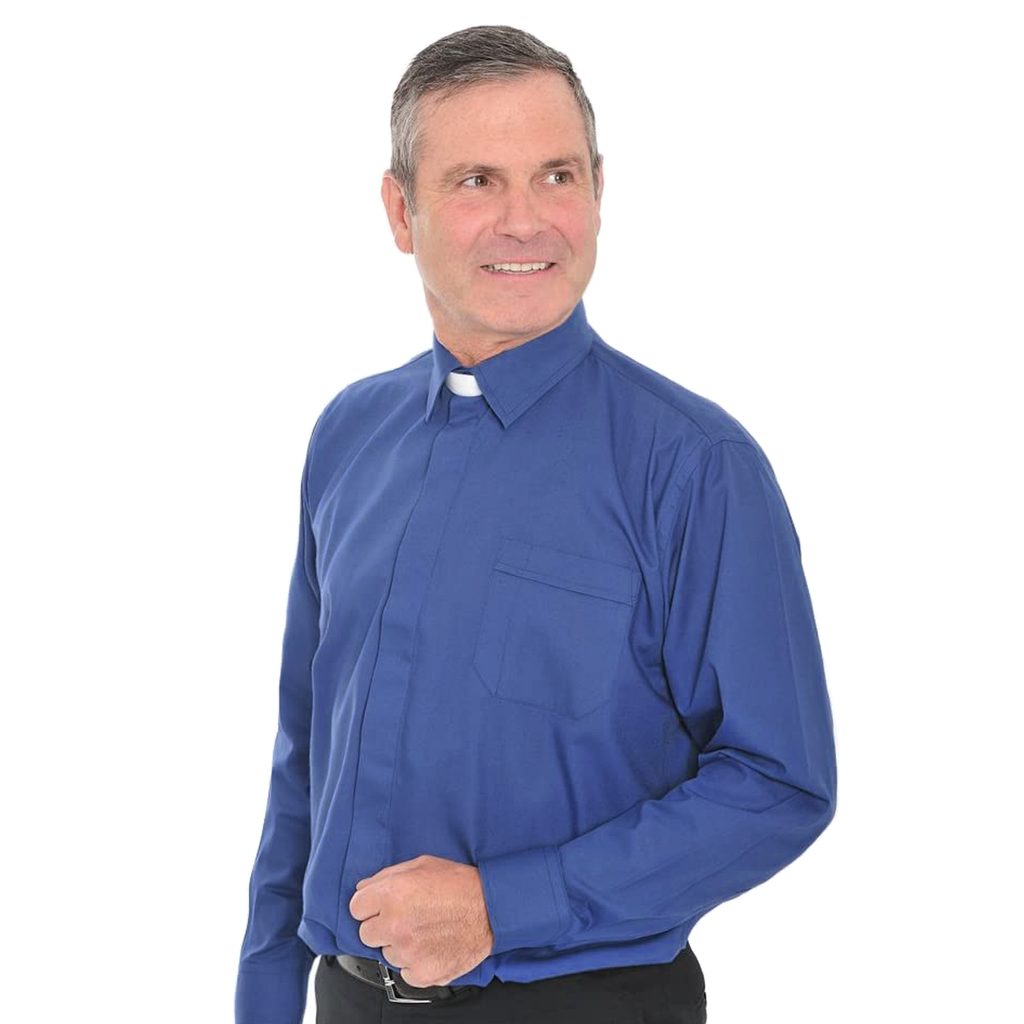 long sleeve collar attached shirt - royal blue