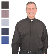 long sleeve collar attached shirt - black grey blue navy and royal blue