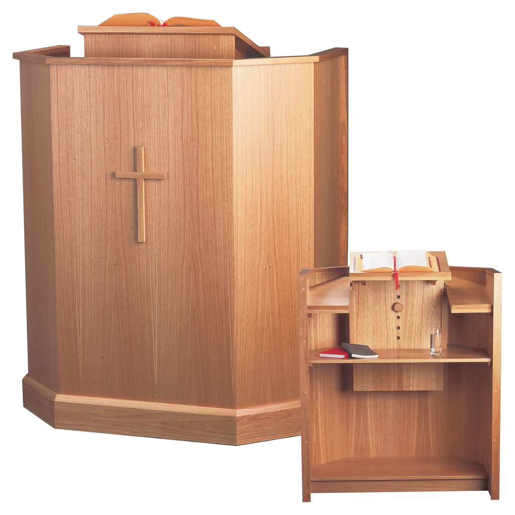 adjustable solid oak cross pulpit with book rest and shelf