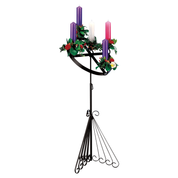 wrought iron advent wreath stand with candles and flowers - special offer set