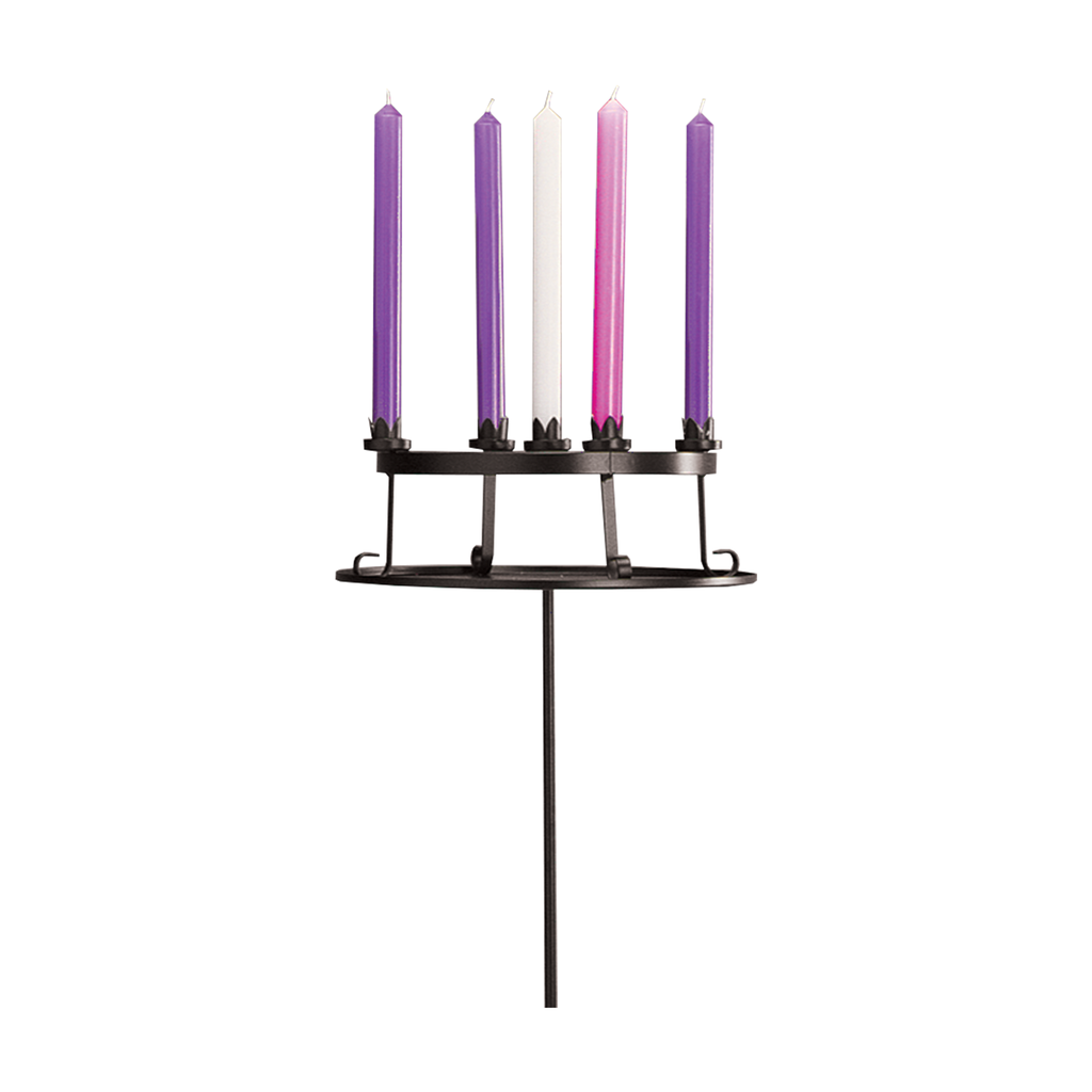 "table top wrought iron advent wreath with holding plate - to hold 1"" candles"