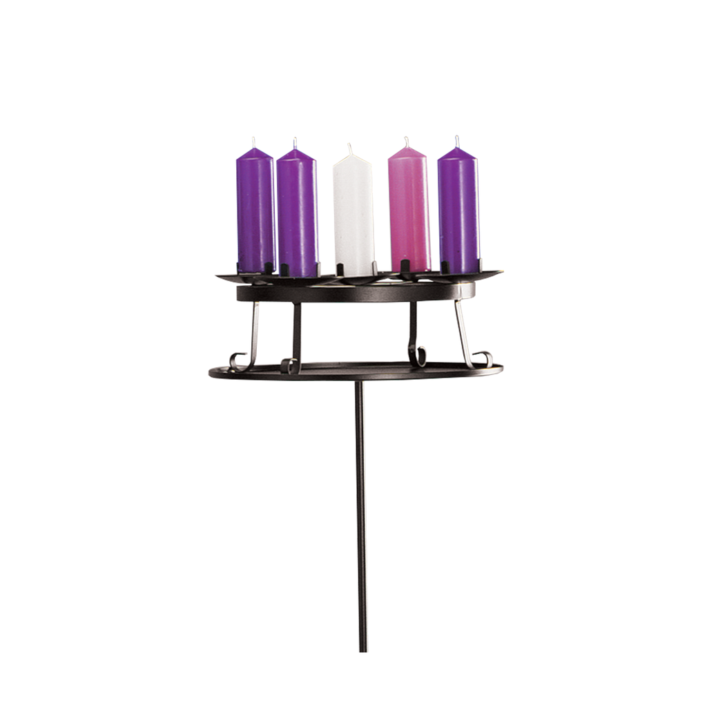 "table top wrought iron advent wreath with holding plate - to hold 2"" candles"