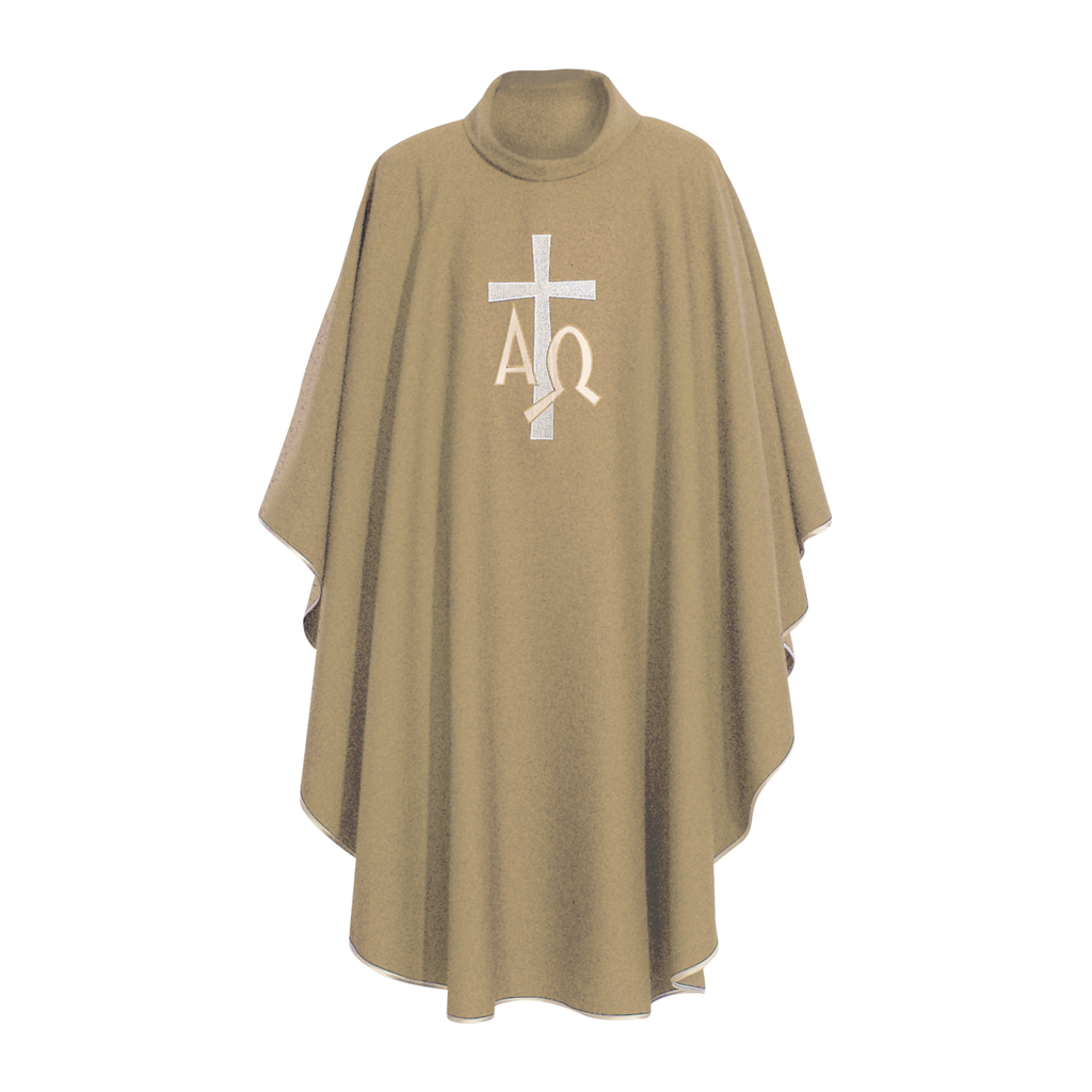 alpha omega embroidery chasuble with stole - cream