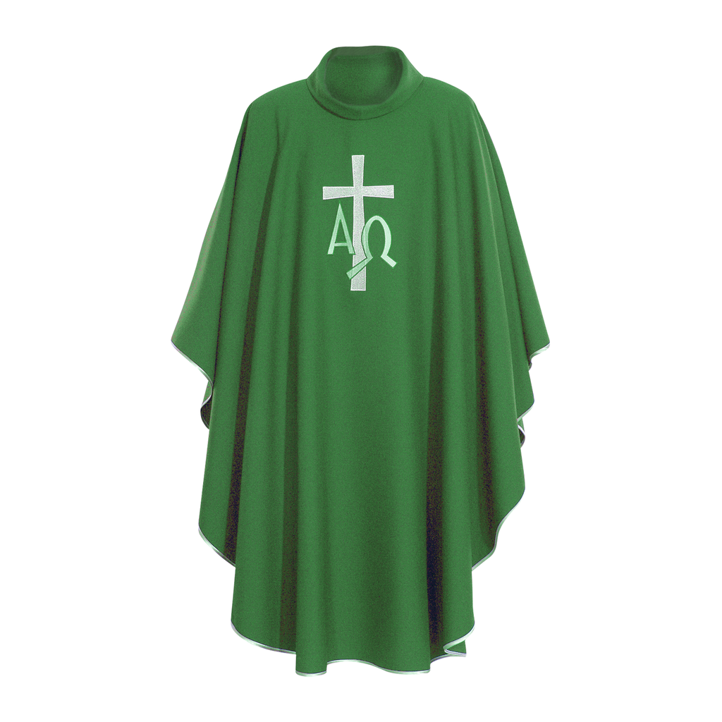 alpha omega embroidery chasuble with stole - green