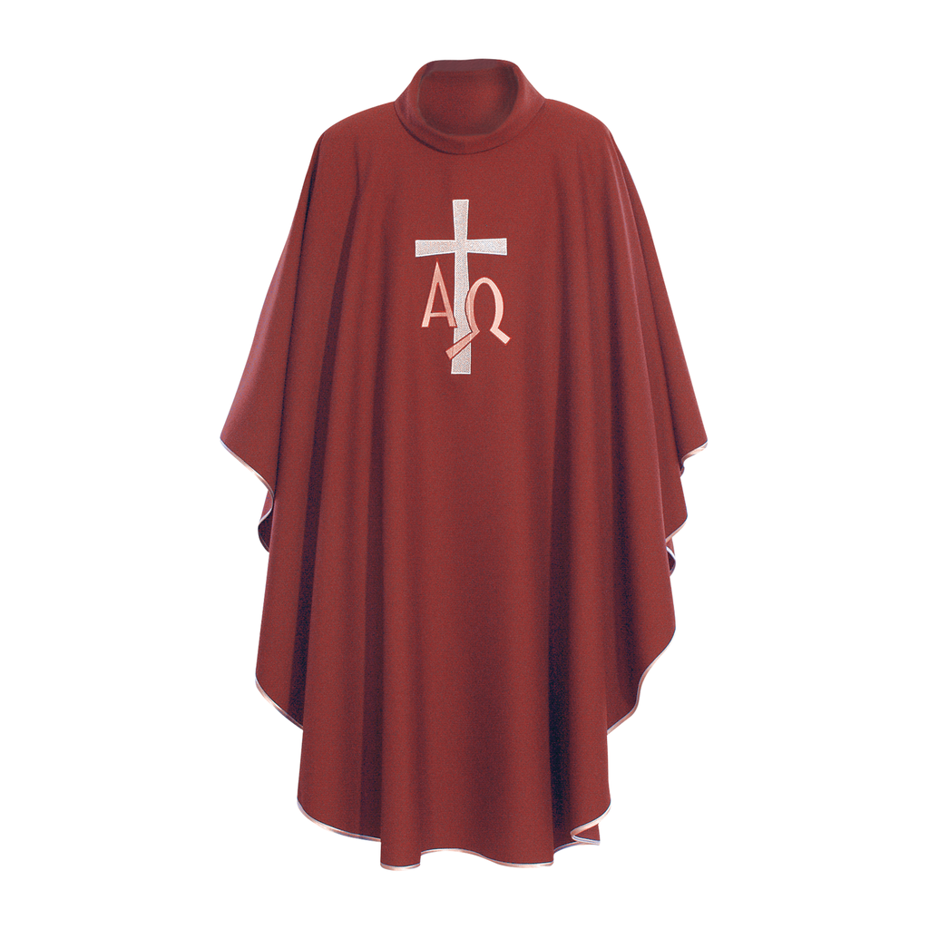 alpha omega embroidery chasuble with stole - red