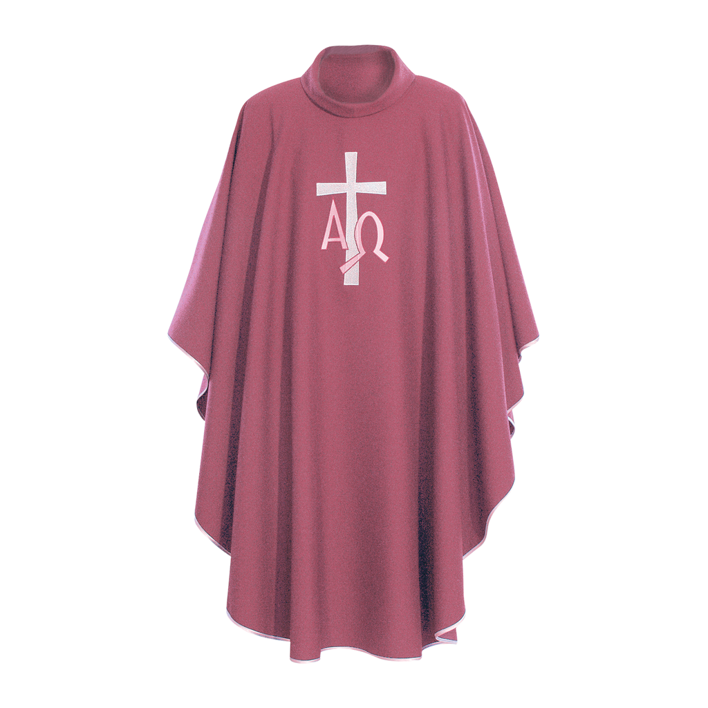 alpha omega embroidery chasuble with stole - rose
