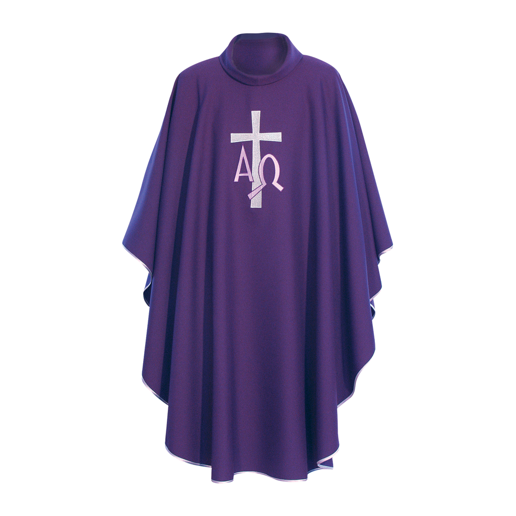 alpha omega embroidery chasuble with stole - violet