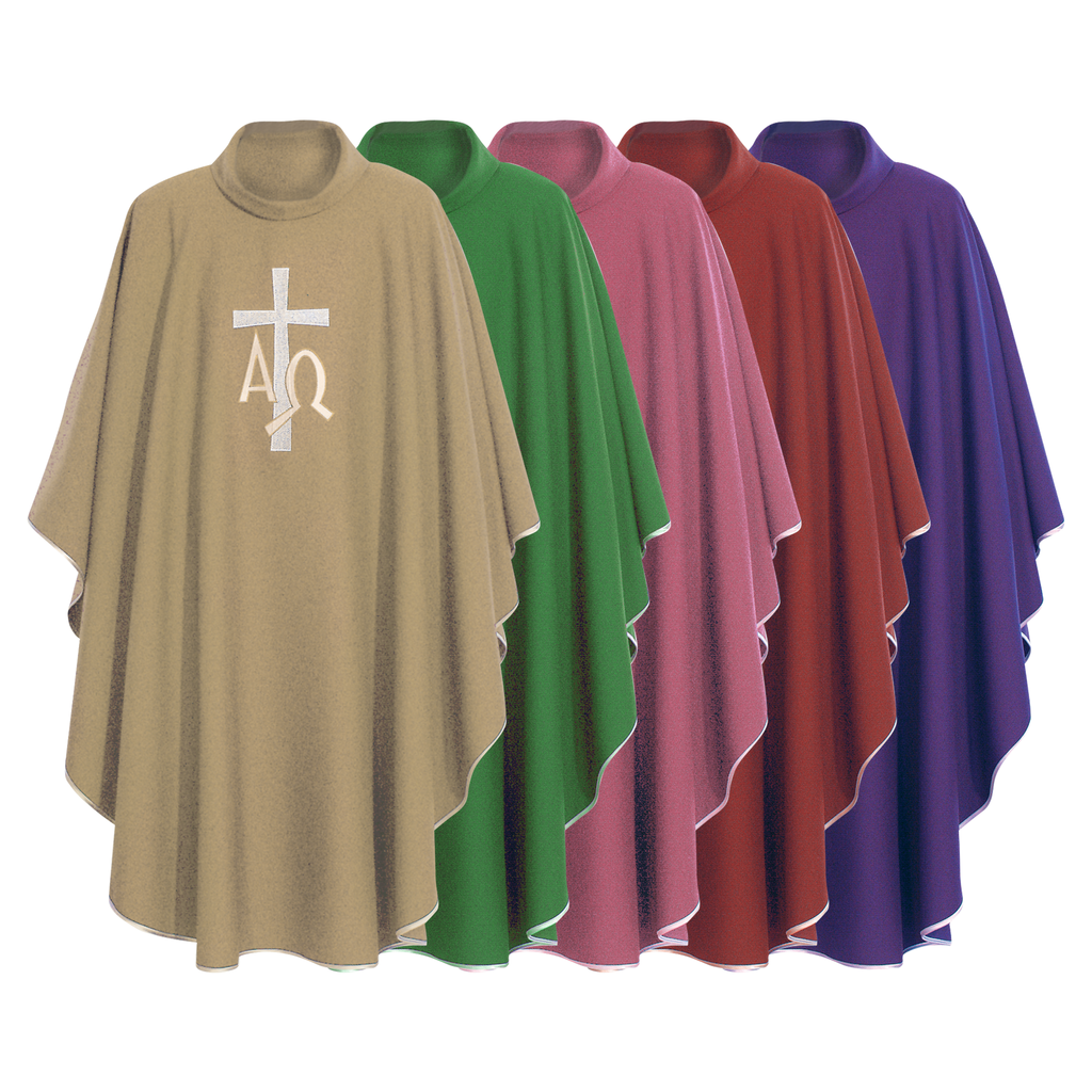 alpha omega embroidery chasuble with stole - cream green rose red and violet
