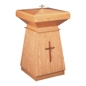 applied cross oak standing baptismal font