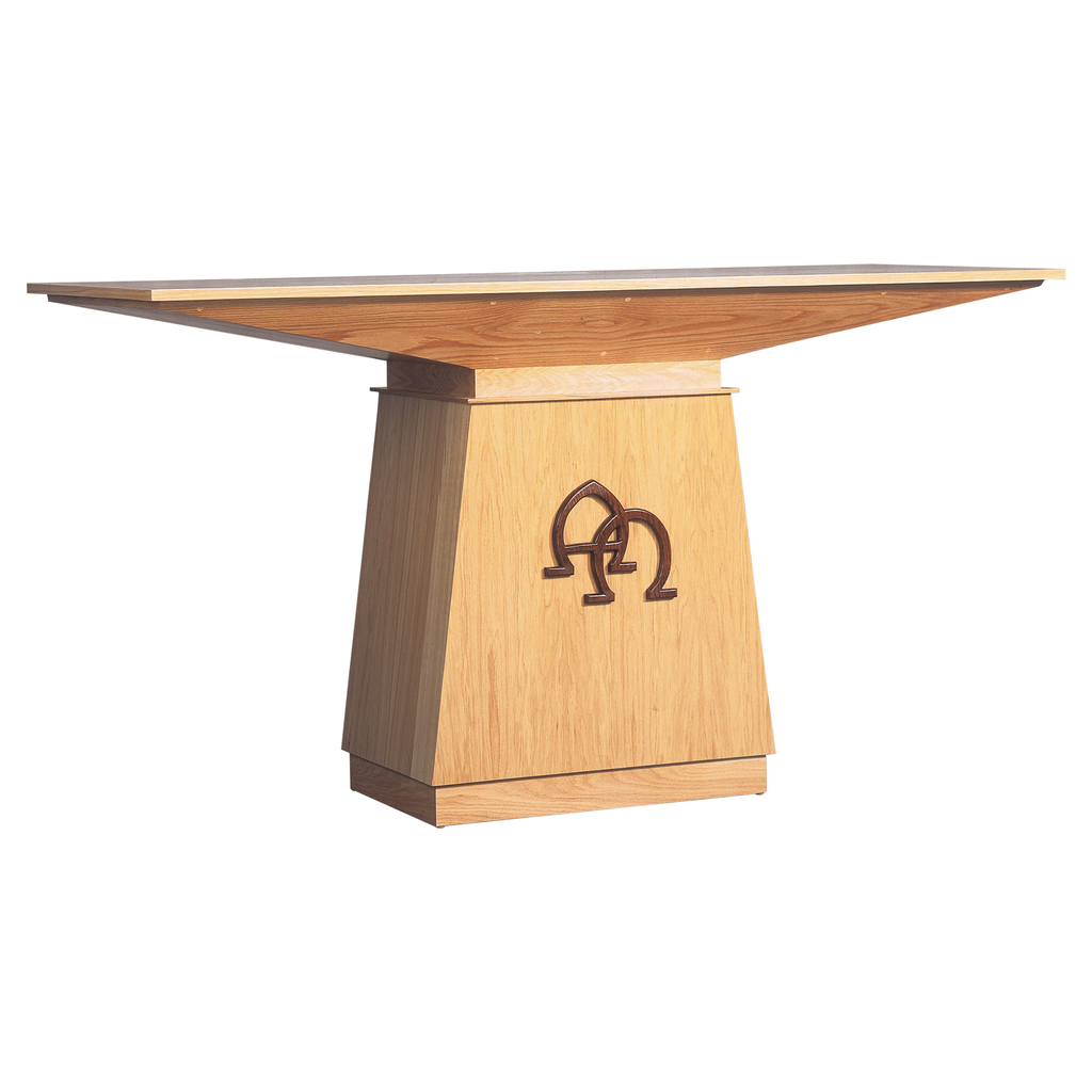 applied motif oak altar with shelf