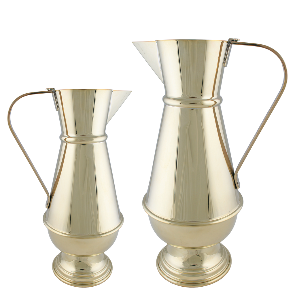 baptismal polished brass jug - 4 and 8 pints