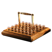 brass handle wood communion tray