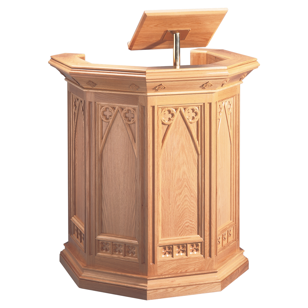 carved detail oak pulpit with book rest