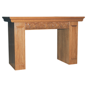 carved grapes and wheat detail oak altar table