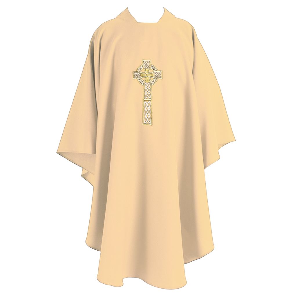 celtic cross embroidery chasuble - cream