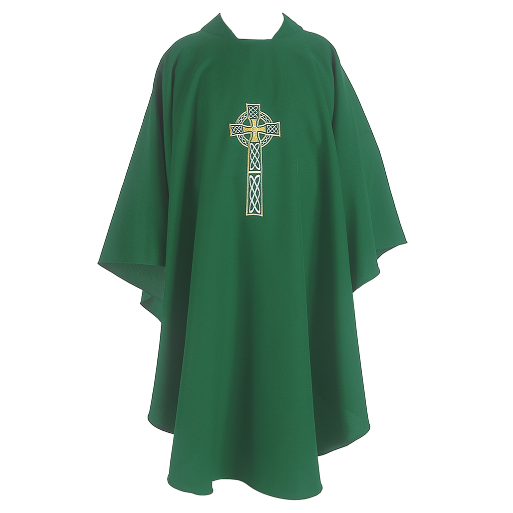 celtic cross embroidery chasuble - green