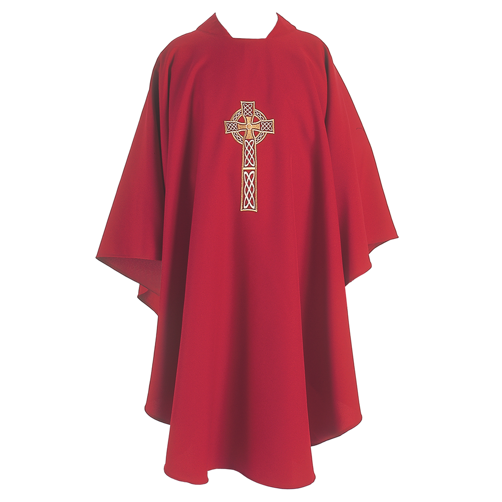 celtic cross embroidery chasuble - red