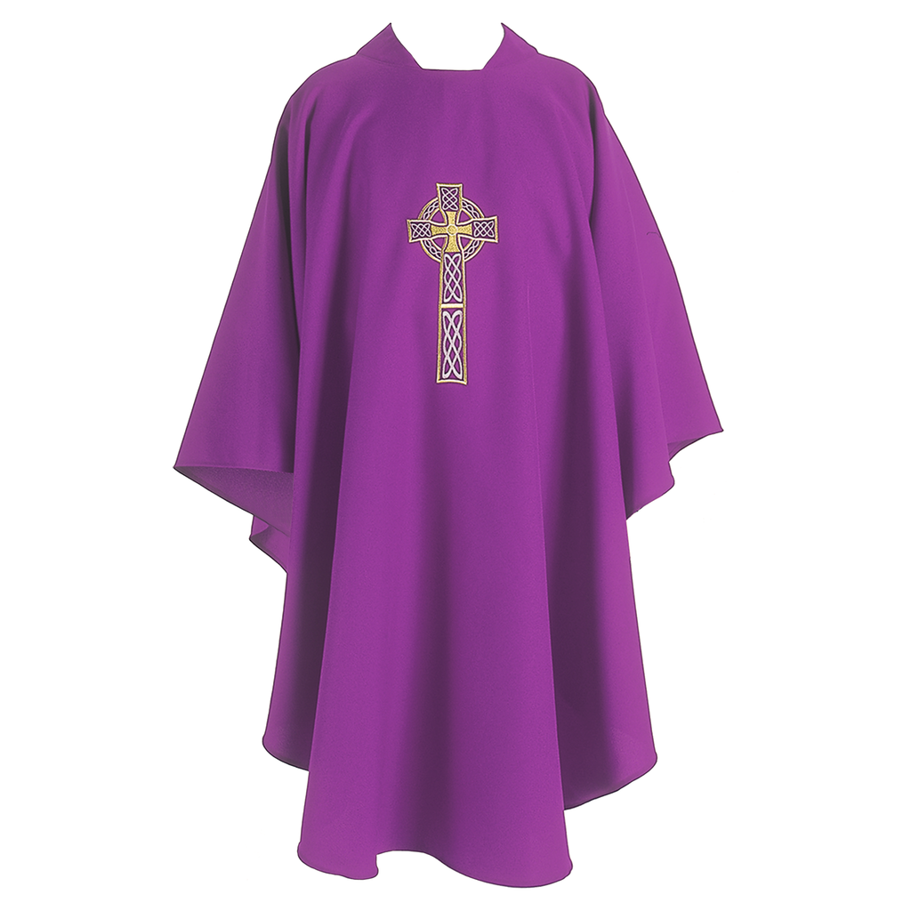 celtic cross embroidery chasuble - violet