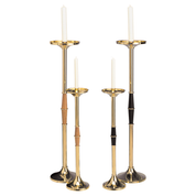 "centre stem polished brass acolyte - wood and black - 26"" and 36"" high"