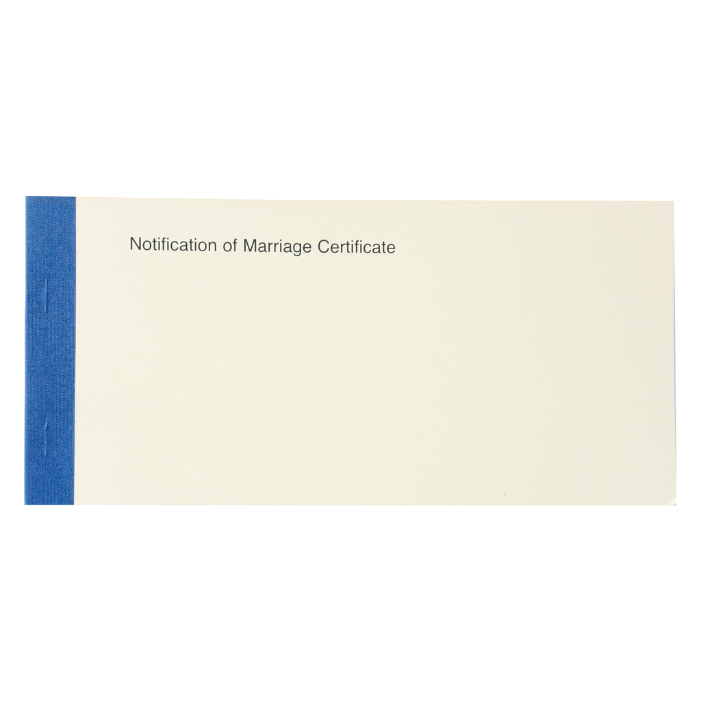 church record certificates - notification of marriage