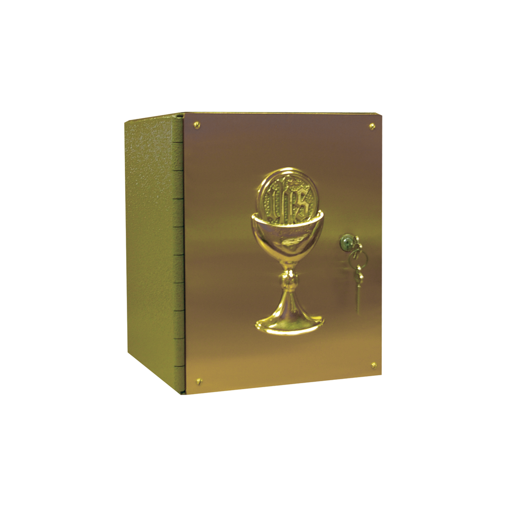 "chalice embellished steel and satin brass tabernacle - 10"" high"